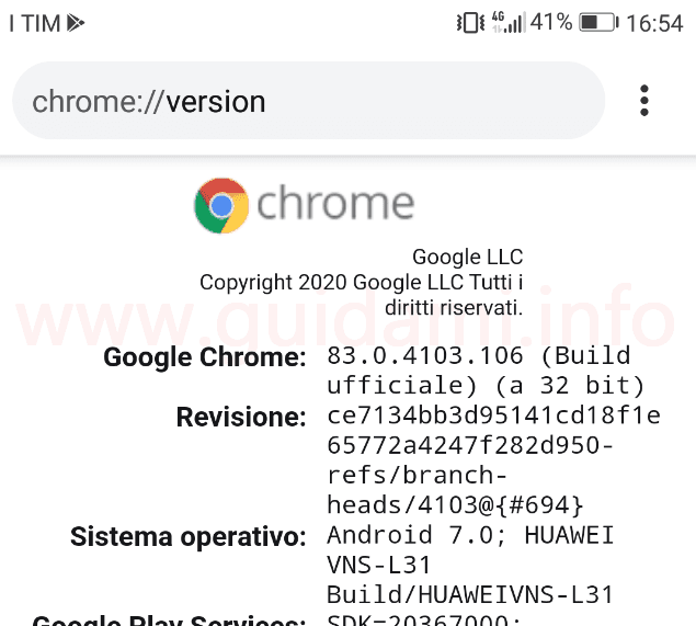 Chrome per Android pagina chrome version con architettura browser