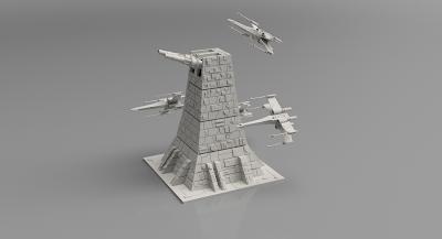 Death Star Starwars Diorama 3d print - Xwing Squad Vs Turret