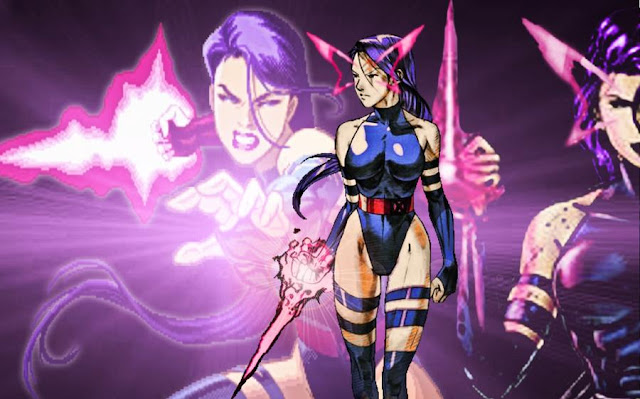 Images of Psylocke a sexy mutant girl with violet aura transmuted as sword