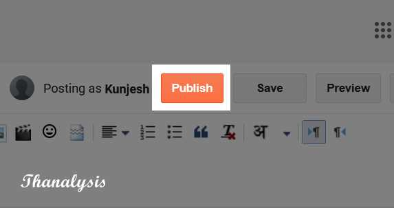 Publish button in the post editor - Thanalysis