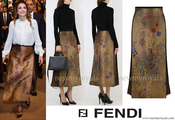 Queen Rania wore Fendi Botanical Jacquard Skirt