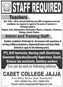 cadetcollegejajja2001@gmail.com - Cadet College Jajja Jobs 2021 in Pakistan
