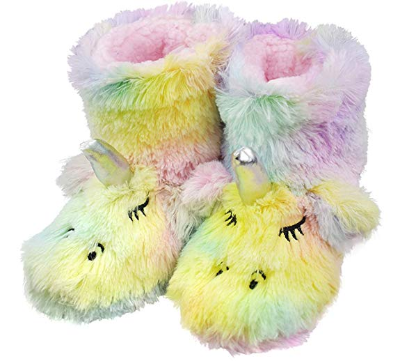 AMAZON - 40% off Cute Unicorn Slippers with Warm Plush Fleece Indoor Outdoor Slip-on Booties