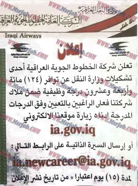 وظائف ,الخطوط الجوية العراقية ,الشركة العامة للخطوط الجوية العراقية ,وزارة النقل العراقية ,124 وظيفة ,ia.newcareer@ia.gov.iq