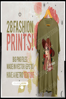 28 fashion prints for T-shirts and sweatshirts - hand-drawn and processed in the Adobe Illustrator