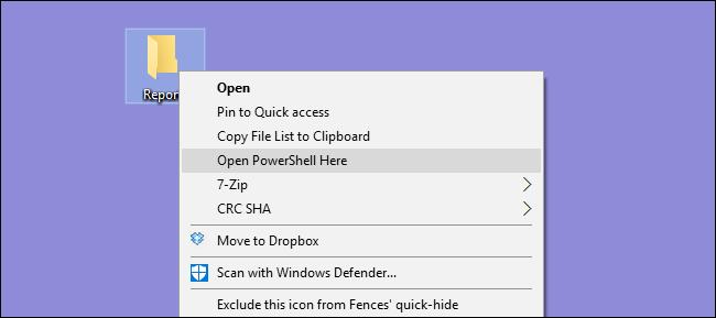 """خيار """"فتح PowerShell هنا"""" في قائمة السياق."""