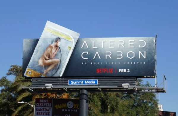 Altered Carbon cut-out billboard