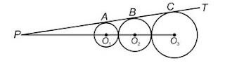 In the given figure, PT is a common tangent to three circles at points A, B and C respectively.