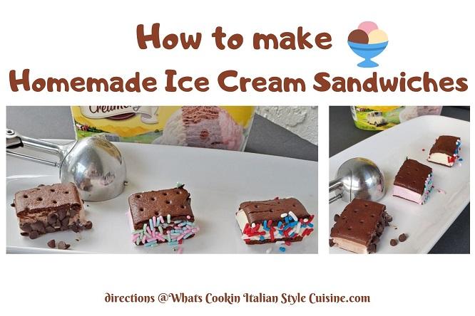 homemade ice-cream chocolate cookie sandwiches
