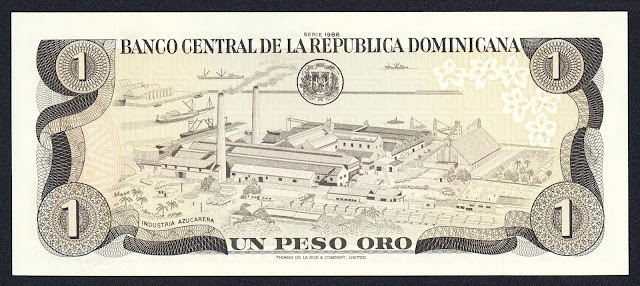 Dominican Republic money 1 Peso Oro banknote 1988 Sugar Refinery