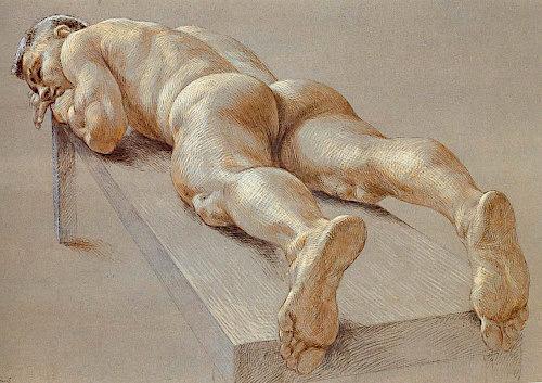 Paul Cadmus (1904-1999) Nu masculin allongé, de dos, Collection privée (USA)