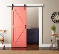 Stylish pink sliding barn door for modern interior idea