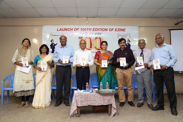 After the launch of 100th edition.  L to R: Sukruti Vadula, Susan Koshy, Prime Point Srinivasan, Lakshmi Narayanan (Cognizant), Padmini (Polaris), V Ponraj, Dr Jagannathan and V Rajendran