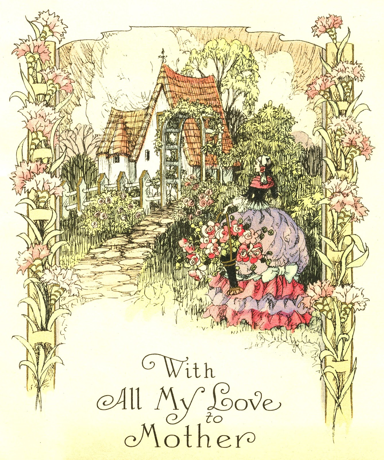 Circa 1930 greeting card features a storybook cottage with a dovecote and thatched roof