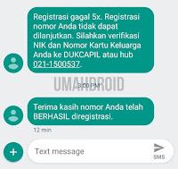 Notifikasi Registrasi SIM Card Sukses