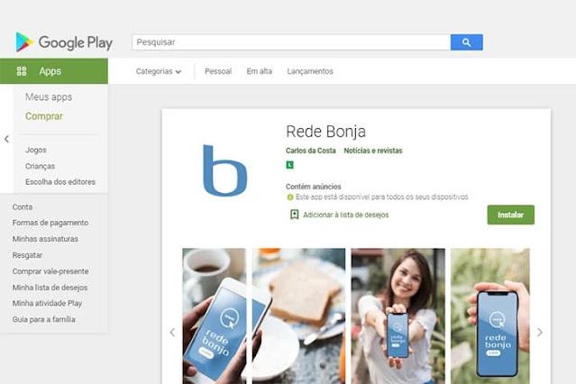 Captura de Tela do aplicativo Rede Bonja na página da Play Store