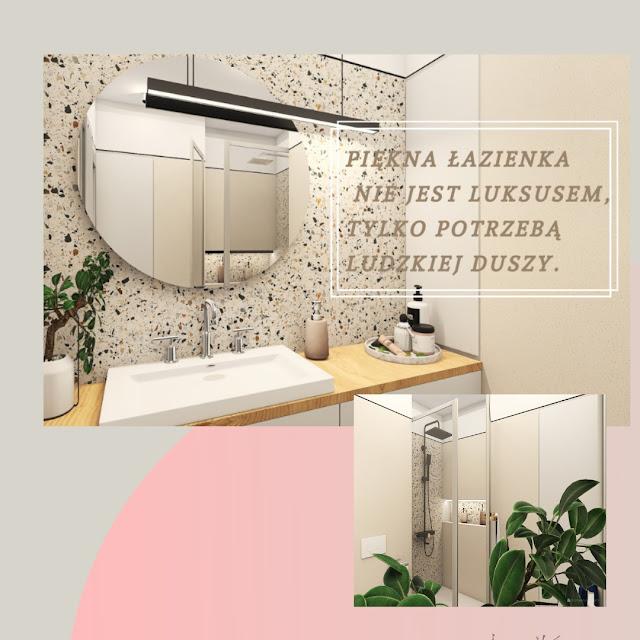 gres terrazzo hika; okrągłe podświetlane lustro; lustro do łazienki; umywalka nablatowa;