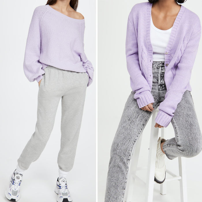 shopbop, spring trends, purple sweatshirt, purple cardigan