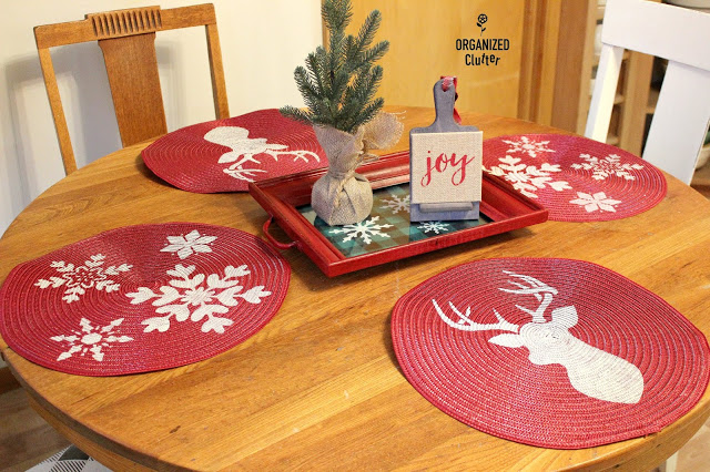 Christmas/Winter Stenciled Round Red Placemats