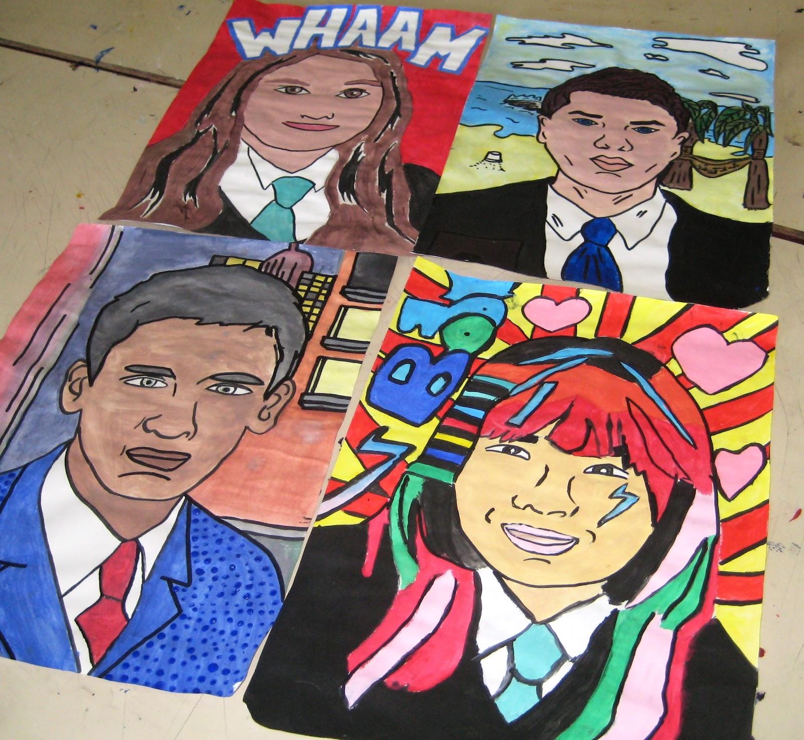 Student Artwork Year 9 Pop Art Self Portraits