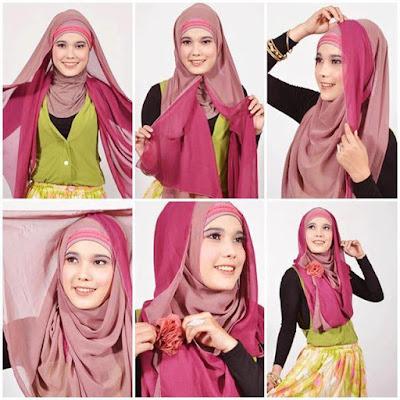 Cara memakai jilbab pashmina syari