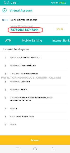 Anda akan mendapatkan nomor virtual account