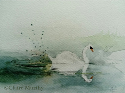 swan painted in watercolours