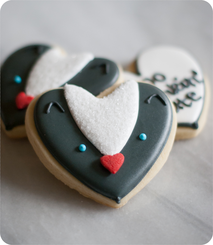 heart-shaped skunk cookies