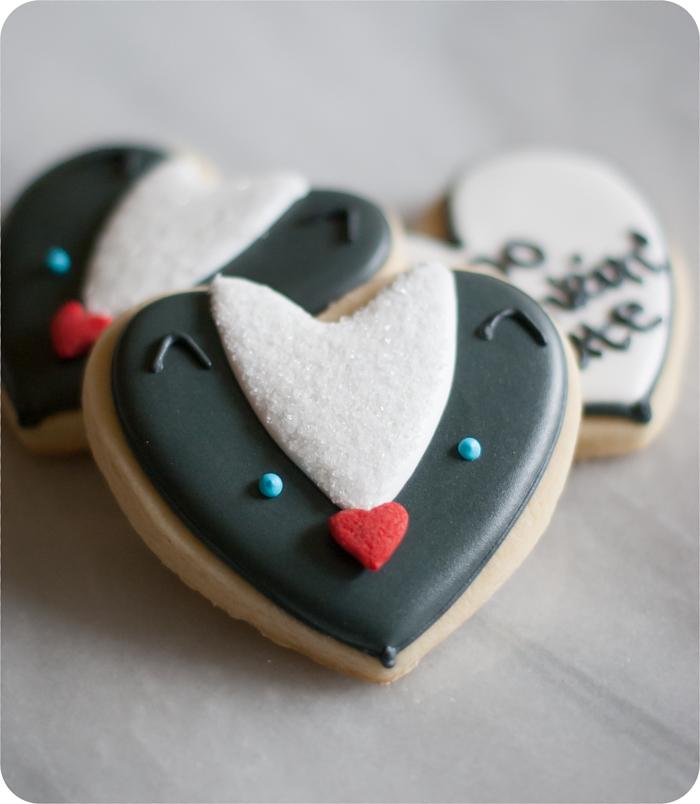 heart-shaped skunk cookies
