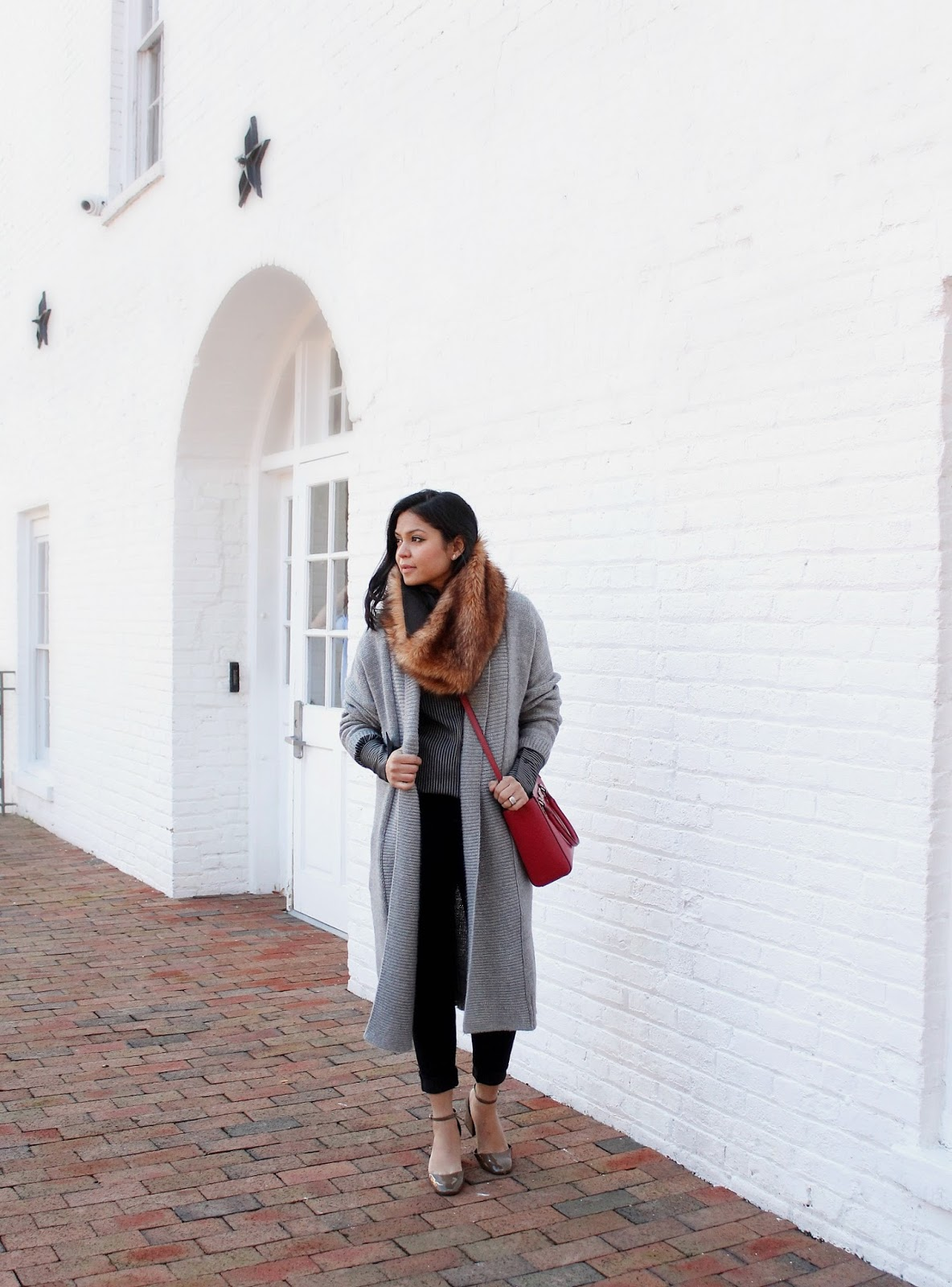 zara heels and strep shirt, gap duster cardigan