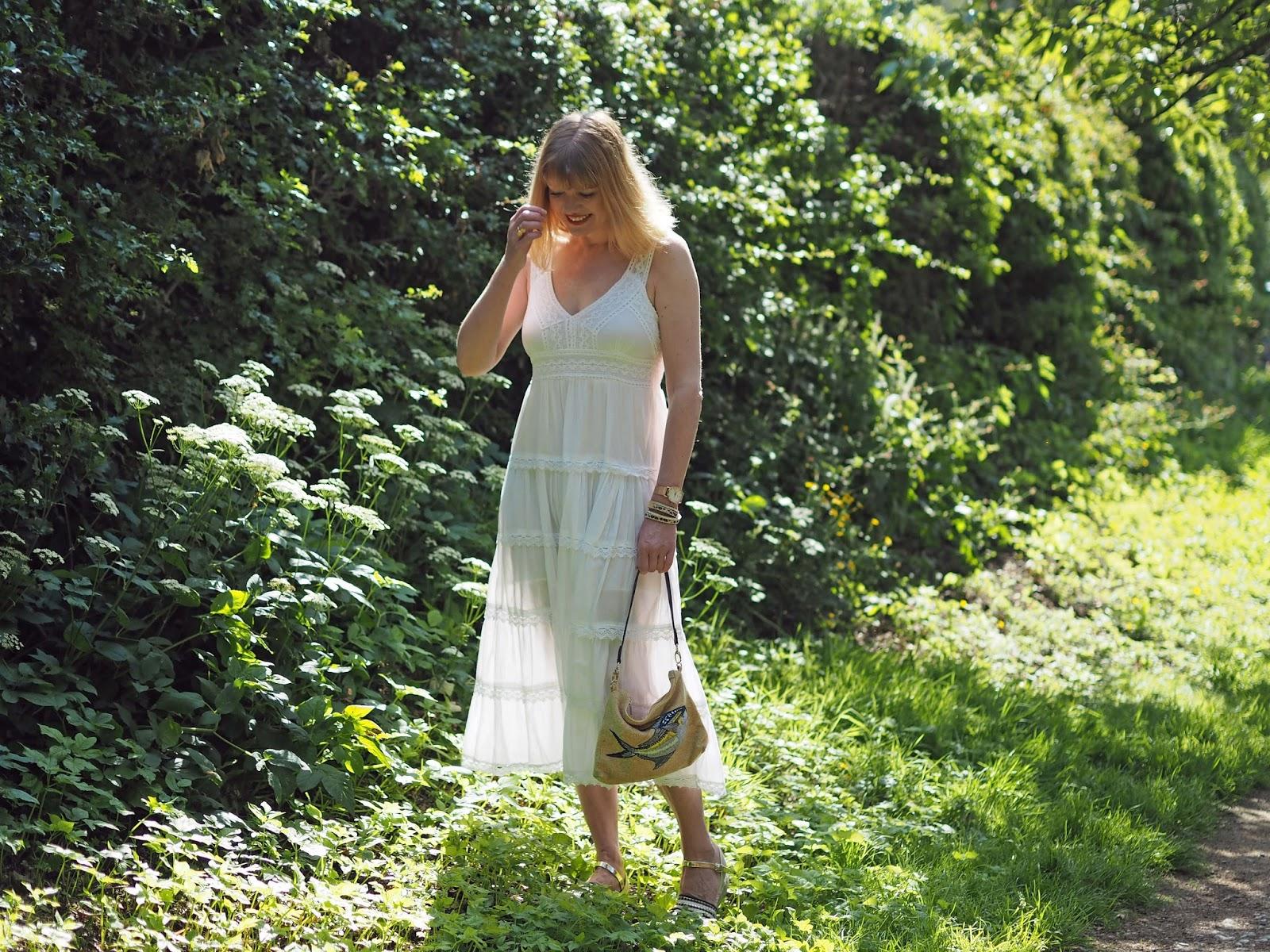 white lace midi dress with espadrilles, sunshine