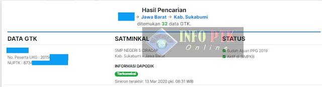 nomor peserta ukg dari hasil pencarian data pada sim pkb