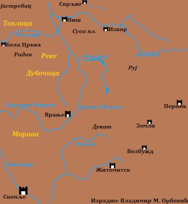 Простор битке на Морави 1190. године