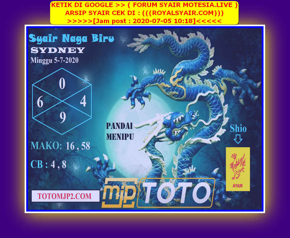 Kode syair Sydney Minggu 5 Juli 2020 158