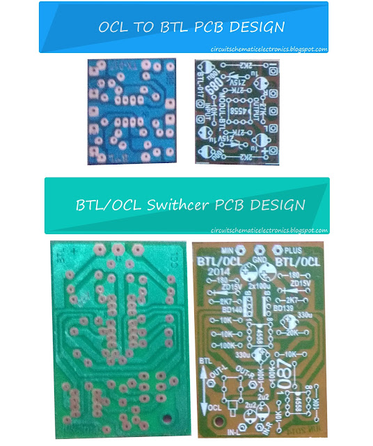 BTL OCL power amplifier input output pcb design