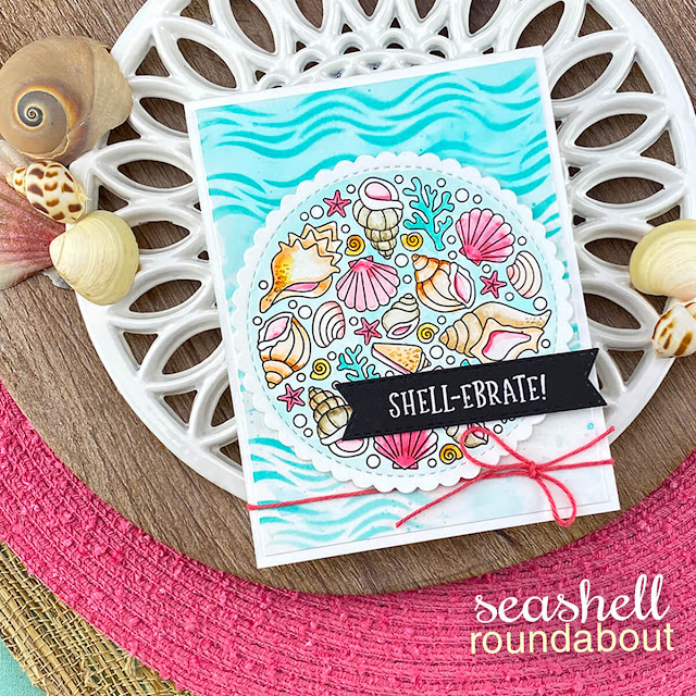 Seashell card by Jennifer Jackson | Seashell Roundabout Stamp Set and Waves Stencil by Newton's Nook Designs #newtonsnook