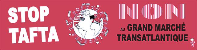 >Le Libre échange représente aussi une menace démocratique dans la mesure où il permettrait aux multinationales de poursuivre les États devant des tribunaux d'arbitrage privé. Cette vidéo fait état des menaces que représente le projet de traité transatlantique (TAFTA).