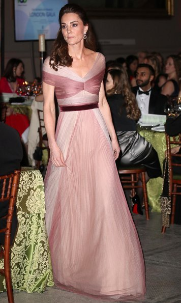 Kate Middleton wore Gucci gown, Oscar de la Renta platinum lame cabrina pumps, and Kiki Mcdonough earrings