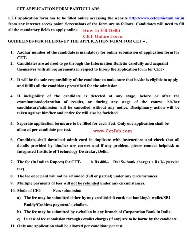 Delhi CET Application Form, Syllabus, Eligibility, Admit