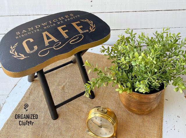 Photo of staged painted stool with decor transfer
