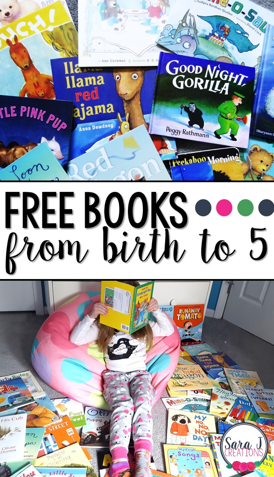 Free children's books from birth through age 5 thanks to Dolly Parton's Imagination Library.  So many awesome picture books for free.