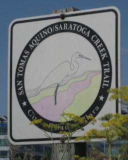 Trailside sign for San Tomas Aquino/Saratoga Creek Trail, Santa Clara, California