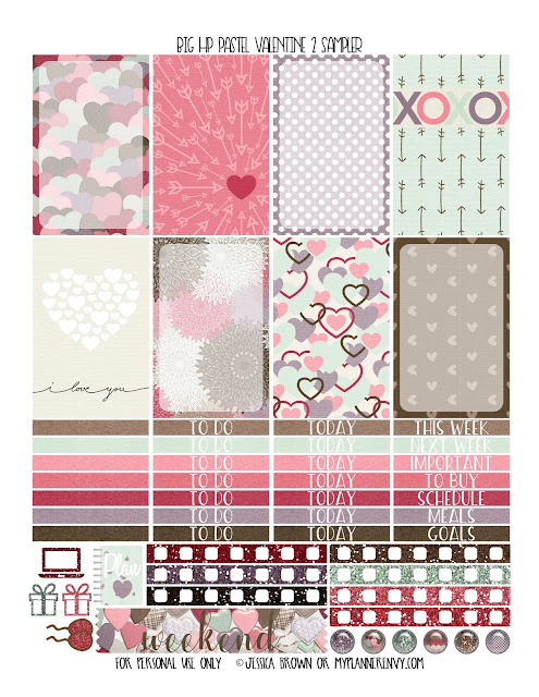Free Printable Pastel Valentine 2 Sampler for the Original Stay Golden July 2016-December 2017 Big Happy Planner from myplannerenvy.com