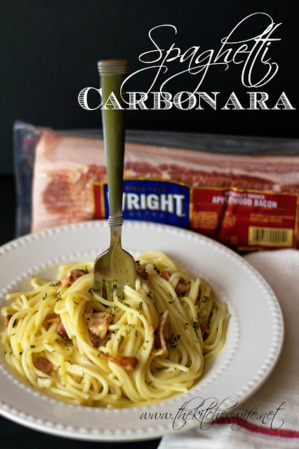 The finished Spaghetti Carbonara dish in a white bowl with the Wright bacon in the background and the title at the top.