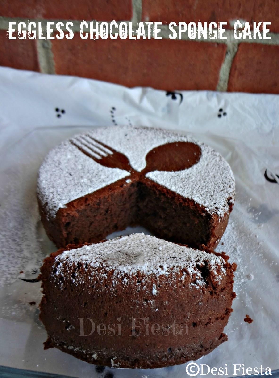 Eggless Chocolate Sponge Cake Desi Fiesta