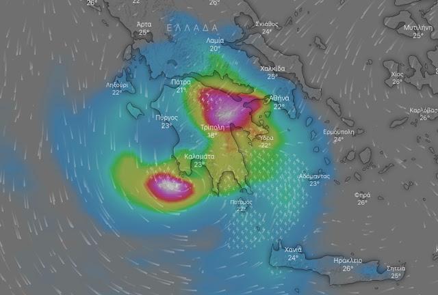"""Καλλιάνος:  Ο """"Ιανός"""" τις επόμενες ώρες σε Αττική, Εύβοια και Πελοπόννησο (live η πορεία της κακοκαιρίας)"""