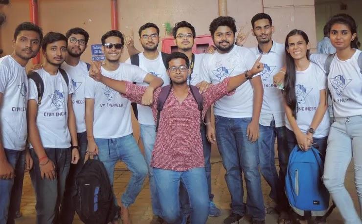 Kiran Dutta aka The Bong Guy with his college Batchmates