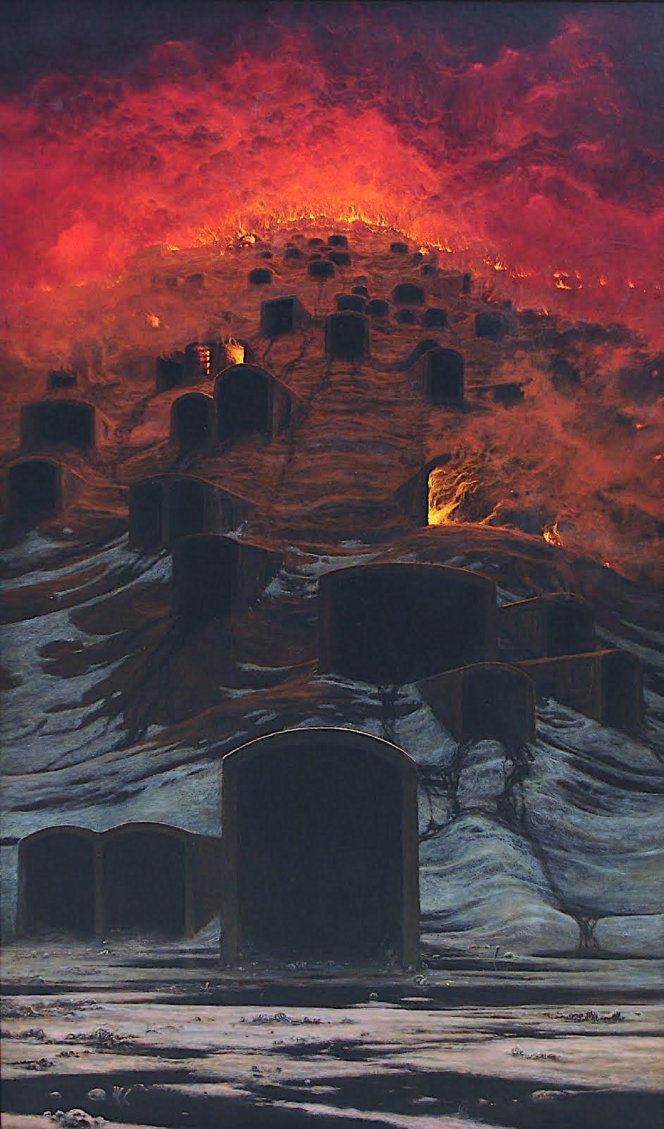 Jaroslav Panuska Triskelion, a burning cemetary hill in flames