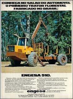 propaganda  trator florestal Engesa 510 - 1976, Salão do automóvel de São Paulo, Engesa - Engenheiros Especializados S.A., Engesa anos 70, trator década de 70, caminhões out road, caminhões fora-de-estrada,