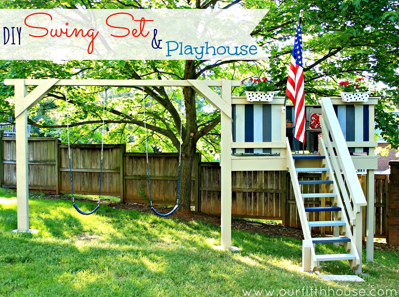 Diy swing set playhouse our fifth house for Playhouse plans free